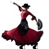 Danzatore zingaresco di dancing di flamenco della donna Fotografie Stock