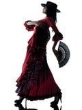 Danzatore zingaresco di dancing di flamenco della donna Fotografia Stock