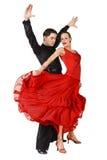Danzatori del Latino nell'azione. Isolato su bianco Fotografie Stock Libere da Diritti