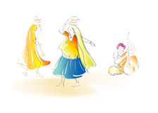 Danzatori di piega di Rajasthani Fotografia Stock