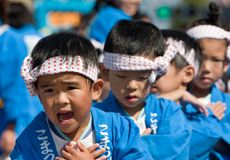 Danzatori giapponesi di festival Immagini Stock