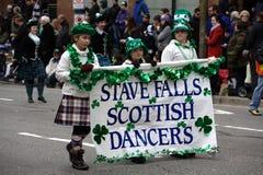 Danzatori scozzesi, parata di giorno della st Patrick Immagini Stock