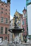 Danzica, Polonia 25 agosto: Statua di Nettuno del centro a Danzica dalla Polonia Fotografia Stock Libera da Diritti
