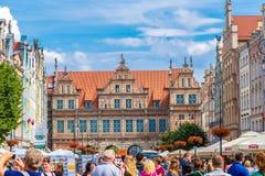 Danzica-vecchia via lunga città del mercato Immagini Stock Libere da Diritti