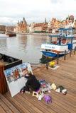 danzig Artiste sur le bord de mer central Image libre de droits