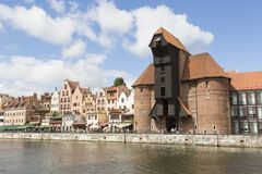 Danzig, Poland - July 7 2016: Gdansk old city in Poland. With the oldest medieval port crane Zuraw in Europe and a promenade along the riverbank of Motlawa Stock Photo