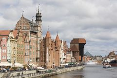 Danzig, Poland - July 7 2016: Gdansk old city in Poland. With the oldest medieval port crane Zuraw in Europe and a promenade along the riverbank of Motlawa Royalty Free Stock Images