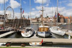Danzig, Poland - July 7 2016: Yachts at a port on Motlawa river. In Gdansk, Poland Royalty Free Stock Photos