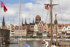 Danzig, Poland - July 7 2016: Yachts at a port on Motlawa river. In Gdansk, Poland Royalty Free Stock Photography