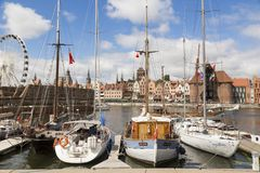 Danzig, Poland - July 7 2016: Yachts at a port on Motlawa river. In Gdansk, Poland Royalty Free Stock Photo