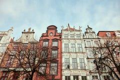 Danzig, Pologne Belles façades de construction photos stock