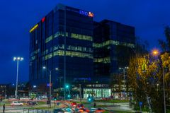 DANZIG, POLOGNE - 11 octobre 2017 : Architecture moderne de bâtiments Image stock