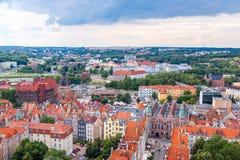 Danzig, vue aérienne, Pologne photos libres de droits