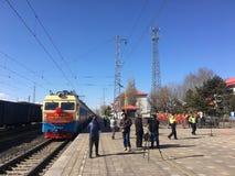 Daong au ceremoney de lancement de premier train de bloc de Mensk photo stock