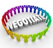 谈判3d谈论人的妥协协议公众舆论Ap 免版税库存图片