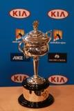 Daphne Akhurst Memorial Cup stellte sich während der Pressekonferenzfrauen dar, die an Australian Open 2016 abschließend sind Lizenzfreies Stockbild