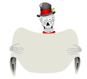 Dapper Skeleton with Blank Sign. A very dapper skeleton holding a blank sign Royalty Free Stock Images