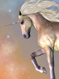 Dapple Buttermilk Unicorn. Cosmic stars surround the beauty of a dapple buttermilk unicorn as he prances across the universe Royalty Free Stock Images