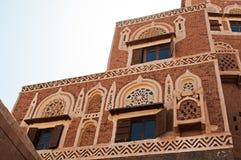 Dar al-Hajar, Dar al Hajar, decorated windows, the Rock Palace, royal palace, iconic symbol of Yemen Stock Photo