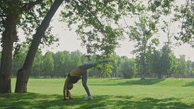 Dar certo: Mulher atrativa nova da aptidão que faz o elemento acrobático no parque na manhã do verão, movimento lento video estoque