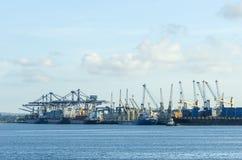 Dar es Salaam port. With moored freighter ships, Kurusini creek, Tanzania; Africa Royalty Free Stock Images