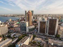 Dar es Salaam. Skyscrapers in downtown of Dar es Salaam in Tanzania, East Africa, at sunset. Horizontal orientation Stock Photography