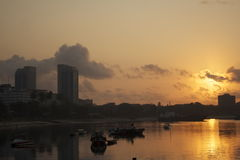 Dar es Salaam Sunrise. Sunrise over the ocean on the coast of Dar es Salaam, Tanzania Royalty Free Stock Photo