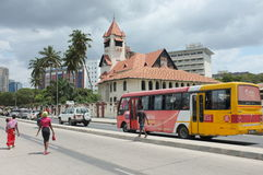 Dar es Salaam Tanzania. Dar es Salaam busy Kivukoni Road and Azania Front Lutheran Church Stock Photo