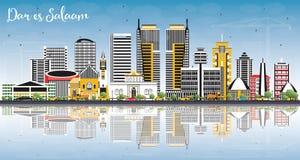 Dar Es Salaam Tanzania Skyline with Color Buildings, Blue Sky   Stock Photos