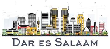 Dar Es Salaam Tanzania Skyline com as construções da cor isoladas sobre Fotografia de Stock Royalty Free