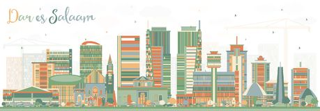 Dar Es Salaam Tanzania Skyline com construções da cor Fotos de Stock Royalty Free
