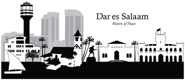 Dar es Salaam, Tanzania. Vector illustration of the skyline cityscape of Dar es Salaam, Tanzania Stock Photo