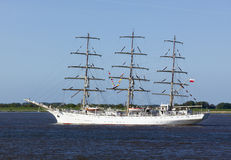 Dar Mlodziezy, polish sail training ship on the Elbe river Stock Photos