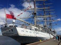 Dar Mlodziezy Tall Ship in de haven van Gdynia Stock Foto's