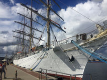 Dar Mlodziezy Tall Ship in Gdynia port stock photo