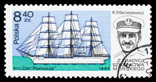 Dar Pomorza, K. Maciejewicz, Training ships serie, circa 1980. MOSCOW, RUSSIA - OCTOBER 6, 2018: A stamp printed in Poland shows Dar Pomorza, K. Maciejewicz stock images