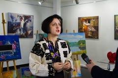 Dara Korniy,著名乌克兰作家,会议在文尼察,乌克兰, 31 03 2017年,社论照片 免版税库存图片