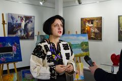 Dara Korniy, sławny Ukraiński pisarz, konferencja w Vinnytsia, Ukraina, 31 03 2017, redakcyjna fotografia Obrazy Royalty Free