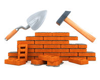 Darby e costruzione della casa dello strumento della costruzione del martello Fotografie Stock