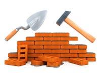 Darby und Hammergebäudehilfsmittelhausaufbau Stockfotos