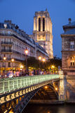 D'Arcole et Notre Dame Cathedral, Ile de la Cite, Paris de Pont Photo libre de droits