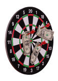 Dard board with arrows and dollars. On white Stock Image