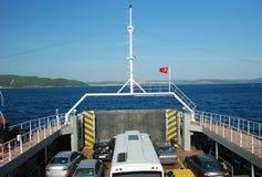 Dardanelles Car Ferry, Çanakkale, Turkey. Car Ferry front deck, Dardanelles, Çanakkale-Eceabat, with cars, Turkey stock photography