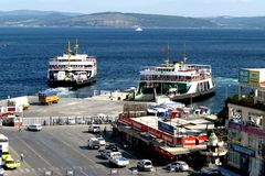 Dardanelles strait near Troy (Truva) Truva, feriboats. Troy (Truva) it is best known for being the setting of the Trojan War described in the Greek Epic Cycle Royalty Free Stock Photography
