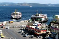 Dardanelles strait near Troy (Truva) Truva, feriboats Royalty Free Stock Photography
