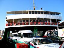 Feriboat in Dardanelles strait near Troy (Truva), Turkey Stock Photos