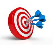 Dardi blu sull'obiettivo rosso Fotografie Stock
