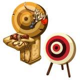 Dardi e brocca di legno antichi dell'argilla Vettore isolato illustrazione di stock