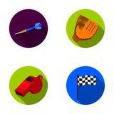 Dardi per il gioco dei dardi, fischio per l'arbitro, guanto per giocar a baseballe, casella di controllo per il campo di football illustrazione vettoriale