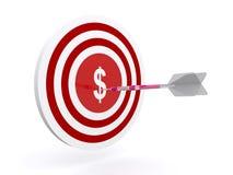 Dardi sull'obiettivo del dollaro Fotografia Stock Libera da Diritti
